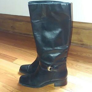 Valerie Stevens black leather pull on boots 7.5 M